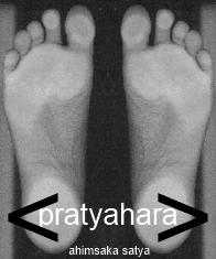 ahimsaka satya tadasana feet pratyahara